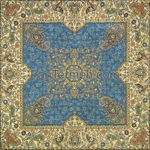 افشاری آبی فیروزه ای تار سفید رومیزی مربع سایز 50 سانتی متر