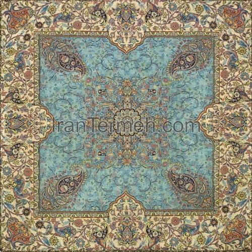 افشاری آبی کم رنگ تار سفید رومیزی مربع سایز 50 سانتی متر