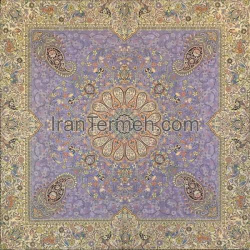 افشاری بنفش یاسی تار سفید رومیزی مربع سایز 100 سانتی متر
