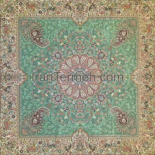 افشاری سبز تار سفید رومیزی مربع سایز 100 سانتی متر