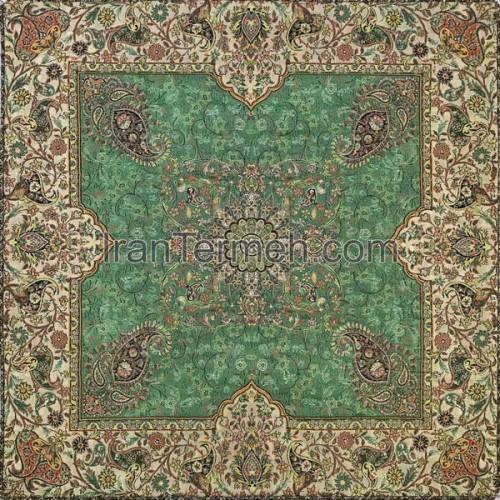 افشاری سبز تار سفید رومیزی مربع سایز 50 سانتی متر