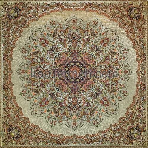 بختیاری خردلی تار مشکی رومیزی مربع سایز 100 سانتی متر
