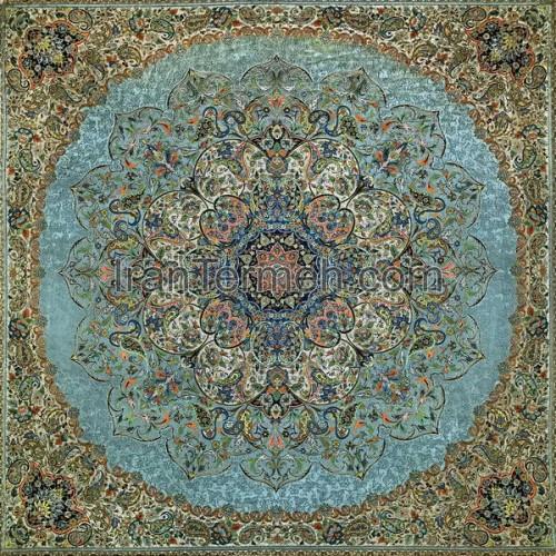 بختیاری سبز آبی تار مشکی رومیزی مربع سایز 100 سانتی متر