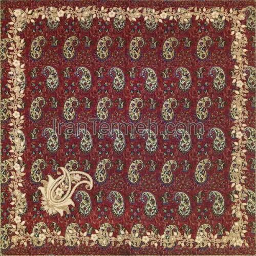 بهارستان قرمز سرمه ای 01 رومیزی مربع (سرمه دوزی)