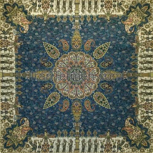 تیسفون آبی فیروزه ای تار مشکی رومیزی مربع سایز 100 سانتی متر