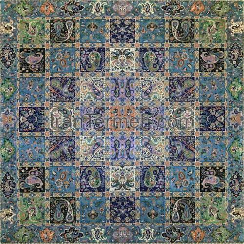 خشتی آبی تار مشکی رومیزی مربع سایز 100 سانتی متر