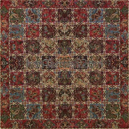 خشتی قرمز تار مشکی رومیزی مربع سایز 50 سانتی متر
