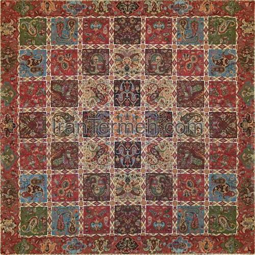 خشتی قرمز تار مشکی رومیزی مربع سایز 70 سانتی متر