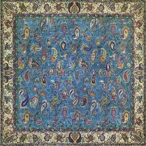زندیه آبی فیروزه ای تار مشکی رومیزی مربع سایز 100 سانتی متر