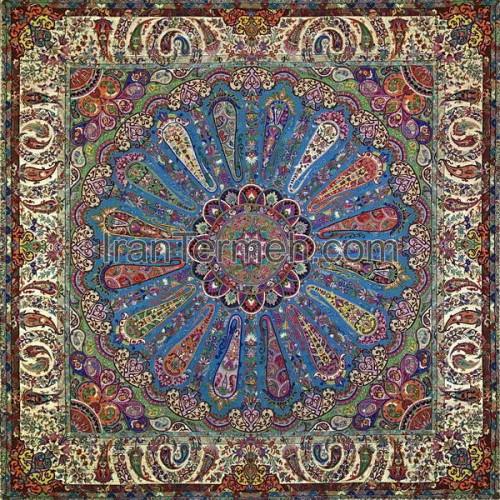سلجوقی آبی فیروزه ای تار مشکی رومیزی مربع سایز 100 سانتی متر