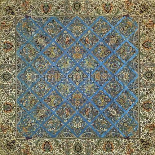 سلطنتی آبی فیروزه ای تار مشکی رومیزی مربع سایز 100 سانتی متر