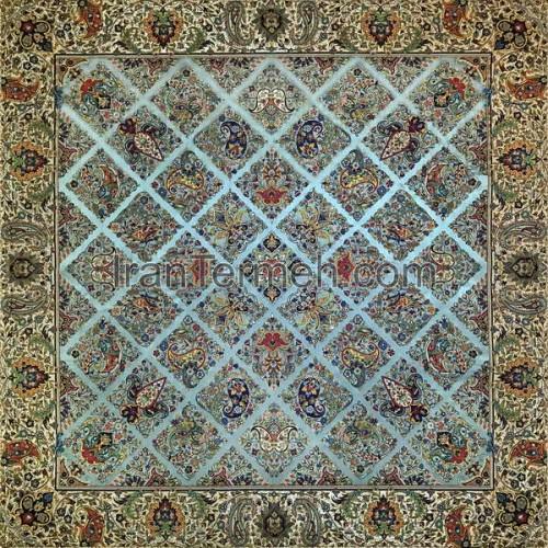 سلطنتی سبز آبی تار مشکی رومیزی مربع سایز 100 سانتی متر