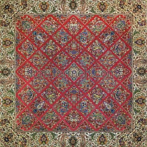 سلطنتی قرمز تار مشکی رومیزی مربع سایز 100 سانتی متر