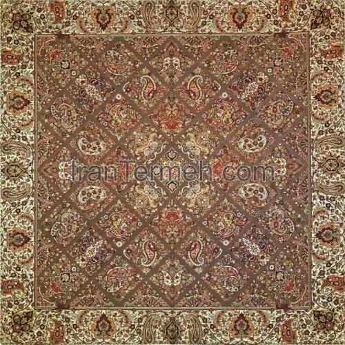 سلطنتی قهوه ای تار مشکی رومیزی مربع سایز 100 سانتی متر