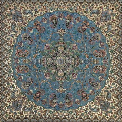 شاهپسند ممتاز آبی فیروزه ای رومیزی مربع سایز 50 سانتی متر