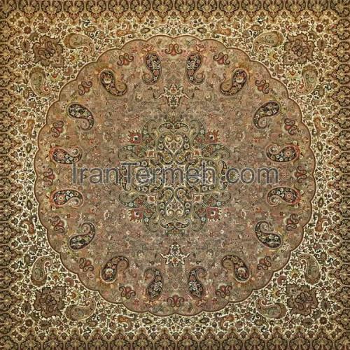شاهپسند ممتاز خردلی تار مشکی رومیزی مربع سایز 70 سانتی متر