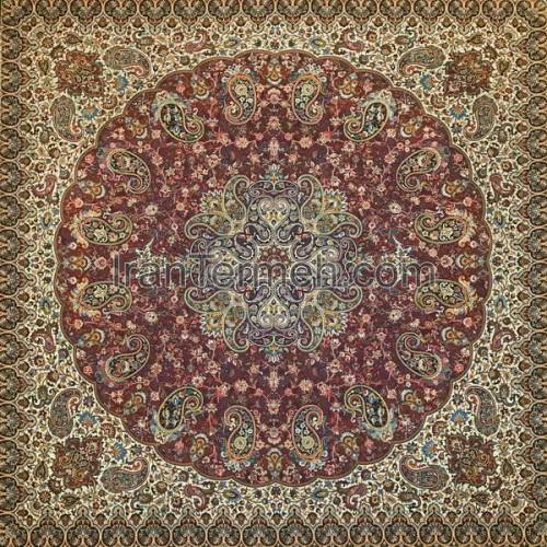 شاهپسند ممتاز زرشکی تار مشکی رومیزی مربع سایز 100 سانتی متر