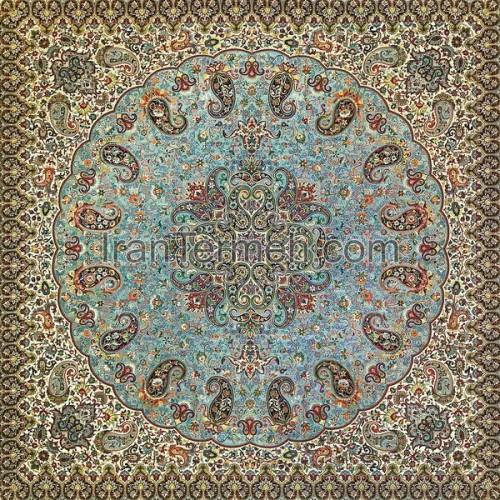 شاهپسند ممتاز سبز آبی تارمشکی رومیزی مربع سایز 70 سانتی متر