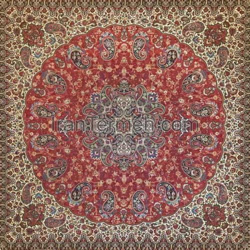 شاهپسند ممتاز قرمز تار مشکی رومیزی مربع سایز 70 سانتی متر