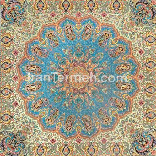 شاه دخت آبی تارسفید رومیزی مربع سایز 100 سانتی متر