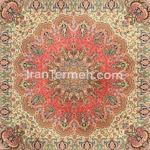 شاه دخت قرمز تار سفید رومیزی مربع سایز 100 سانتی متر