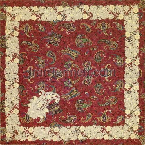 صوفی قرمز 0125 رومیزی مربع (سرمه دوزی)