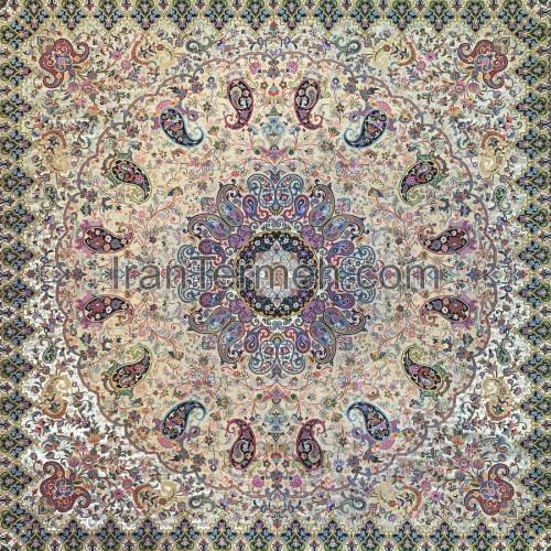 مهرناز بژ تارسفید رومیزی مربع سایز 100 سانتی متر