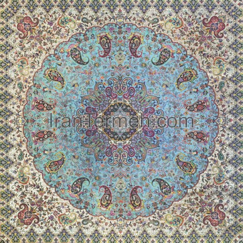 مهرناز سبزآبی تارسفید رومیزی مربع سایز 100 سانتی متر