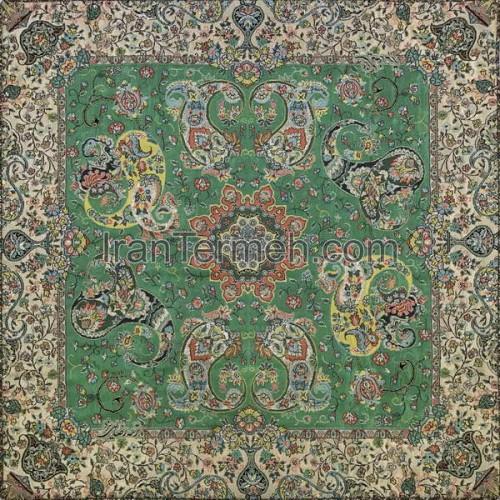 هشت بهشت سبز تار سفید رومیزی مربع سایز 50 سانتی متر