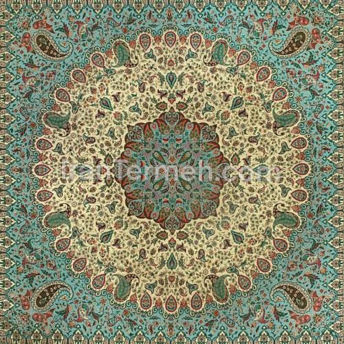 پردیس طلایی آبی تارسفید رومیزی مربع سایز 100 سانتی متر