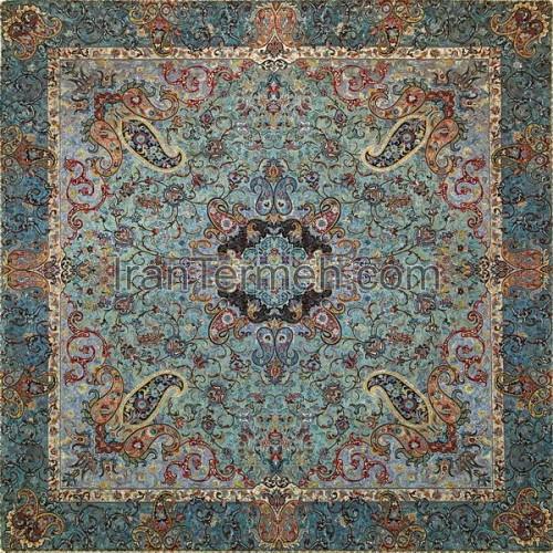 چهلستون ممتاز سبز آبی تار مشکی رومیزی مربع سایز 100 سانتی متر