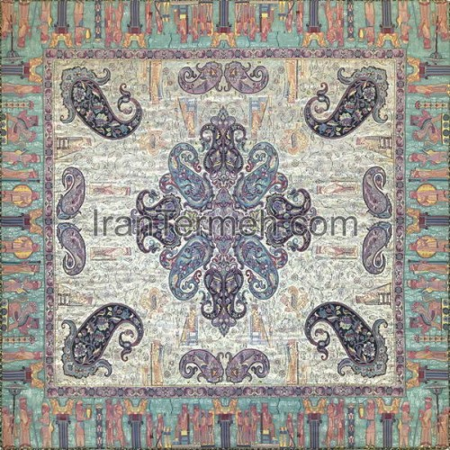 کتیبه زمینه لمه آبی روشن تار سفید رومیزی مربع سایز 100 سانتی متر